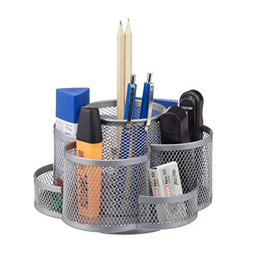 Relaxdays Stiftehalter, Metallgeflecht, 7 Fächer, drehbar, rund, kompakt, für Büro, Stiftebox f. Pinsel, Schere, Silber