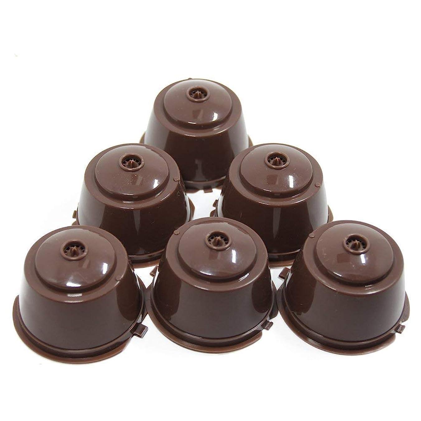 津波尋ねる壁Recaps BPAフリー詰め替え可能なドルチェゴースト再使用可能なコーヒーカプセルポッドはNescafe Dolce Gusto ブルワーズ 6パックと互換性があります。 (ブラウン, 6)
