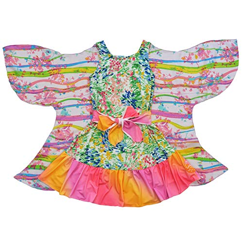 TwirlyGirl Girls Reversible Party Dress Color Block Rainbow Butterfly USA Made