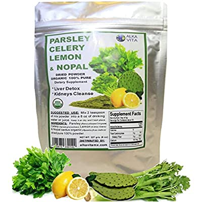 Parsley Celery Nopal & Lemon $17.99 for Kidney Cleanse & Liver Support Dried Pure 100% Organic Fiber Powder Bag 1/2 LB. by ALKAVITA by Alkavita Products