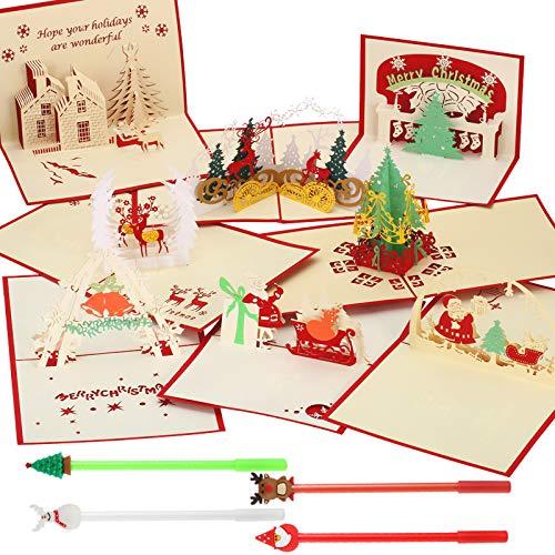 8 Pezzi 3D Biglietto Natalizio Cartoline Pop Up e 4 Pezzi Penna Inchiostro Gel, Saluti Vacanze Cartolina Regalo con Busta e Penne per Natale/Compleanno/Capodanno