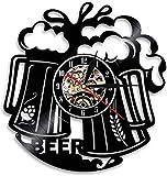 mbbvv Reloj de Pared con Disco de Vinilo con Personalidad de Beer O'Clock, decoración de Taza de Cerveza, Reloj de iluminación Led, decoración de Bar Moderna, 30X30Cm