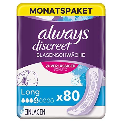 Always Discreet Inkontinenzeinlagen Long (80 Binden) Monatspaket, Diskreter Schutz und Hohe Saugstärke, Geruchsneutralisierend, 4 x 20 Stück