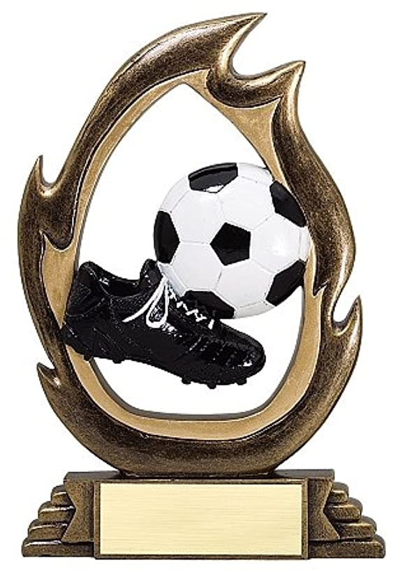 Decade Awards Soccer Flame Series Trophy | Soccer Team Award | Futbol Award | 7.25 Inch Tall - Free Engraved Plate on Request