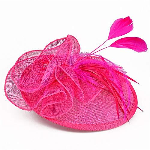 Arielflora-Accessoires Chapeau De Fascinators Grand Fleur Bandeau Parti Fille Fascinator Chapeaux Cocktail Chapeau Tête Décoration Thé pour Cocktail Royal Ascot (Color : Rose Red)