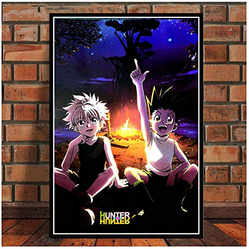Hunter x Hunter Anime Killua Zoldyck GON FREECSS Pintura Art Poster Print Canvas Decoración para el hogar Picture Wall Print -50x75cm Sin marco