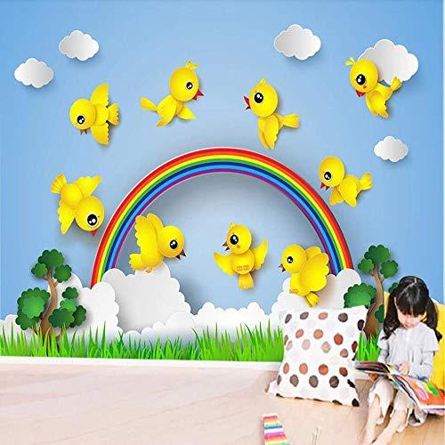 Custom 3D Photo Wallpaper Cartoon Bird Rainbow Mountain Children S Room Kindergarten Heaven Heaven Wall Decoration Wallpaper Mural-400Cmx280Cm