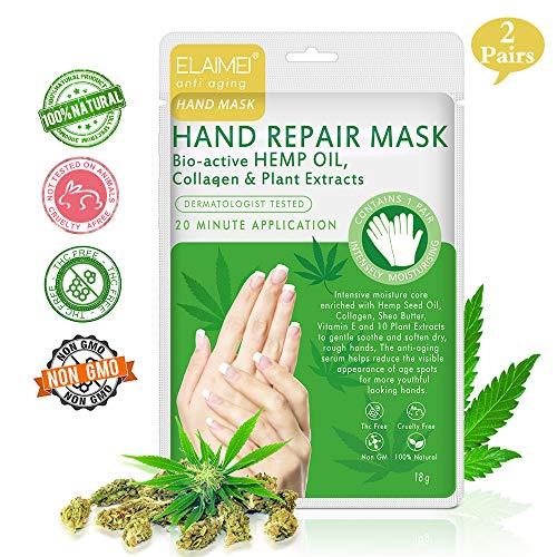2-Pack Moisturizing Gloves, Hemp Oil Treatment Hand Spa Mask for Dry,Cracked Hands,Moisturizer Hands Mask, Repair Rough Skin for Women&Men
