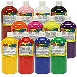 trendmarkt24 Temperafarben Kinder wasserlöslich 12 Farben je 1 Liter ab 3 Jahren Wasserfarben Plakatfarben Malfarben Schulmalfarben Bastelfarben Kindermalfarben Kindergarten Fensterfarben 1620