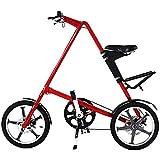 CWH&WEN 14 Pulgadas De La Bicicleta Plegable Sistema De Plegado Engranajes Estudiante De Bicicletas De Una Sola Velocidad del Freno De Disco Compacto Plegable Bicicletas para Adultos,Red