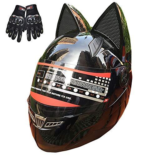 ZJRA Orejas De Gato Casco, Casco De La Motocicleta con El Oído del Gato, Creativo Cuerno Off Road Motocross Casco para Hombres Y Mujeres, Adultos, ECE/Dot Aprobado Yelmo,Cat Ears Helmet,6,M53~55cm