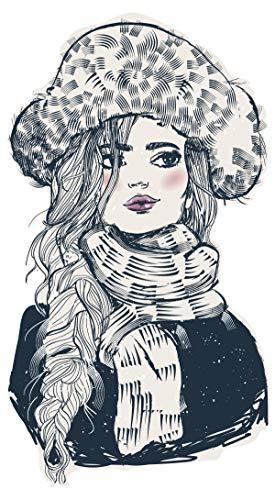 dekodino® Wandtattoo Modernes Design Topmodel Frau mit Winterjacke und Mütze