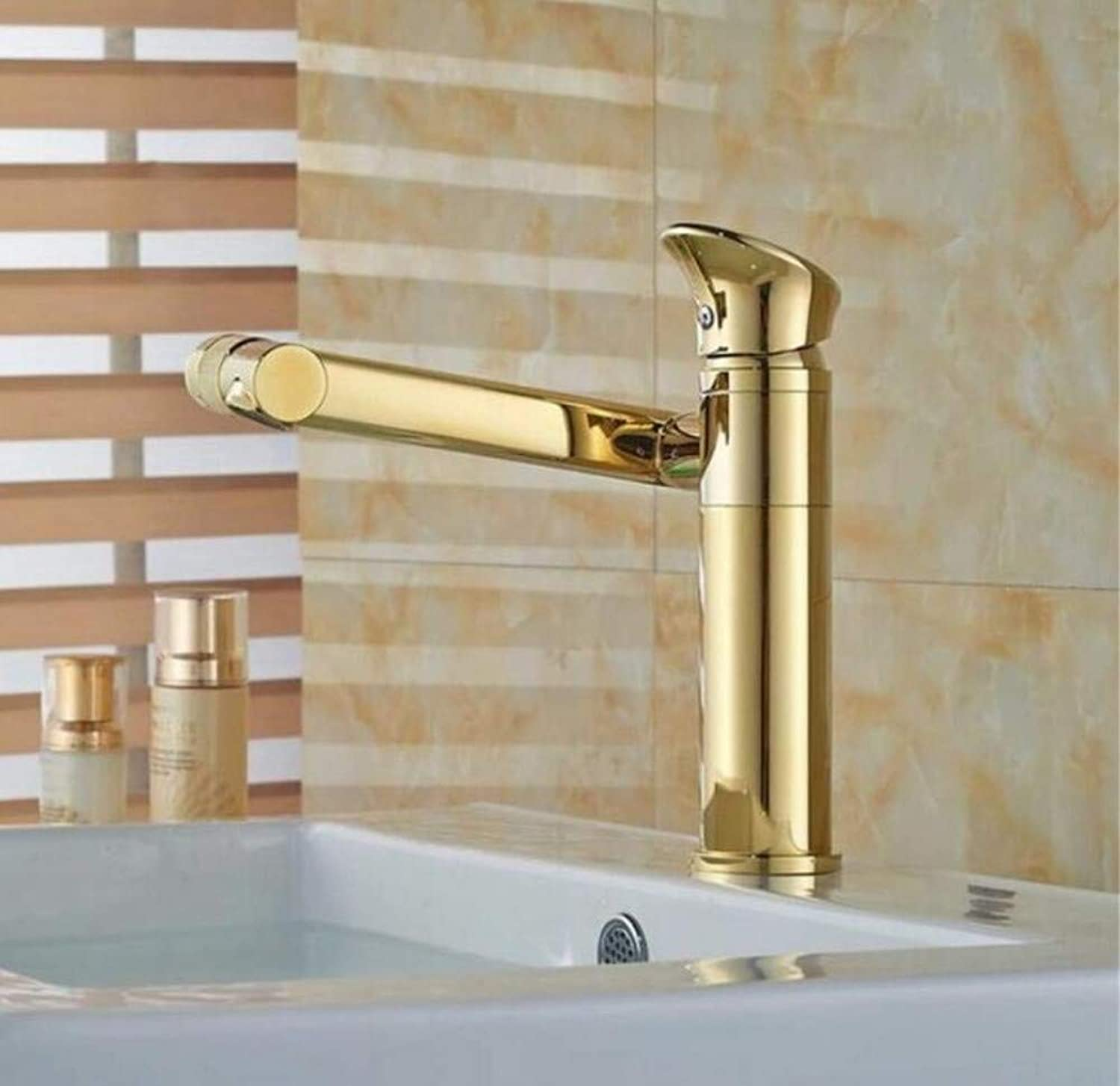Brass Wall Faucet Chrome Brass Faucet Faucet 180 Degree Bathroom Sink Tap Hot&Cold Tap One Hole