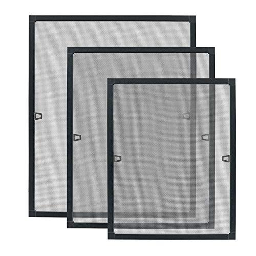 Aufun 80 x 100 cm Fliegengitter Fenster Fliegenschutz Insektenschutz Fliegengittertüren mit Aluminium Rahmen ohne Bohren und Schrauben für Fliegenschutz Moskitonetz Spannrahmen - Anthrazit