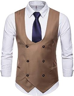 MU2M Men Business Solid Slim Casual Suit Vest Waistcoat