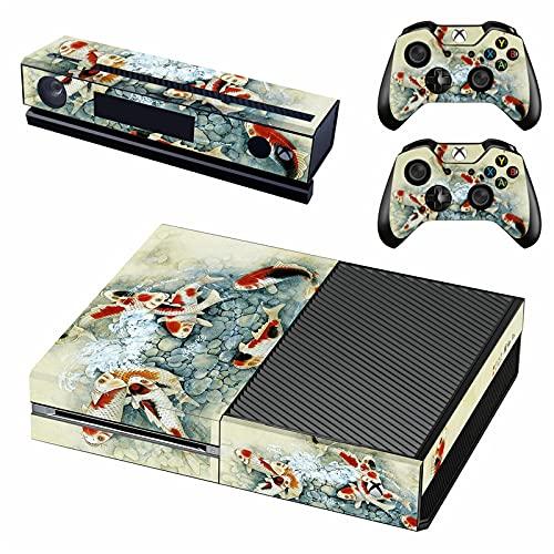 AXDNH Adesivo per Decalcomanie Skin per Console Xbox One + 2 Skin per Controller Compatibili Pellicola Protettiva in PVC per Xbox One E Kinect - Disegno di Pittura Paesaggistica in Stile Cinese,1822