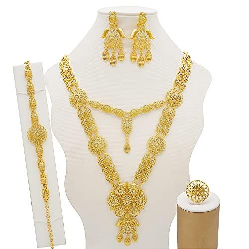 TCross Conjuntos de joyería de la Boda de Las Mujeres de Lujo de Las Mujeres, los Pendientes del Collar de Tres Capas Bridal Dubai Gold African Beads Juego de Joyas (Metal Color : BJ823)