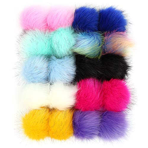 20 Pieces Colorful Faux Fur Pom Poms Balls with Elastic Loop, Bulk Fluffy Fur Pompoms for Knitted Hat Crochet Gloves Keychains (10 Bright Colors, 2 Pcs Per Color) White Pink Blue Red Ball for Crafts