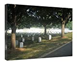 iRocket Canvas Prints Wall Art - Arlington National Cemetary - Wood Board Background Stretched Canvas Wrap Ready To Hang For Home And Office Decoration - 16' X 12'