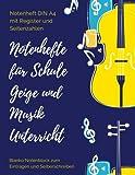 Notenheft DIN A4 mit Register und Seitenzahlen Notenhefte für Schule Geige und Musik Unterricht Blanko Notenblock zum Eintragen und Selberschreiben