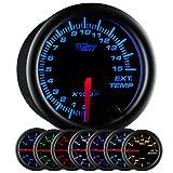 GlowShift Black 7 Color 1500 F Pyrometer Exhaust Gas Temperature EGT Gauge Kit - Includes Type K Probe - Black Dial - Clear Lens - for Diesel Trucks - 2-1/16' 52mm