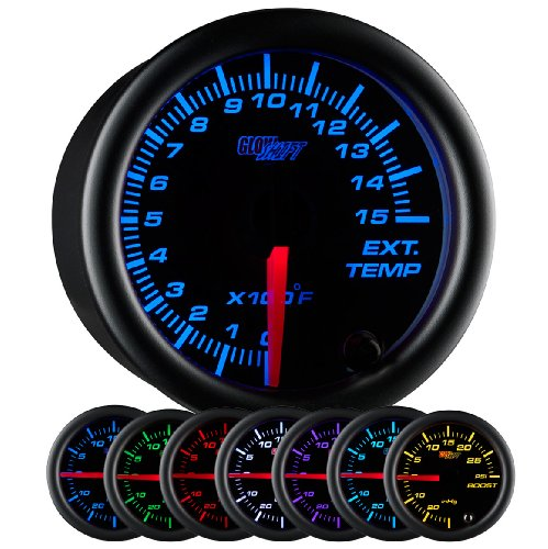 GlowShift Black 7 Color 1500 F Pyrometer Exhaust Gas Temperature EGT Gauge Kit - Includes Type K Probe - Black Dial - Clear Lens - for Diesel Trucks - 2-1/16