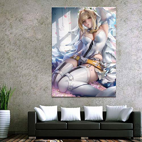 LOIUYT decoración del hogar cuadro de lienzo modular 1 pieza Destiny Saber animación pintura cartel arte pared hogar lienzo pintura 60x85cm