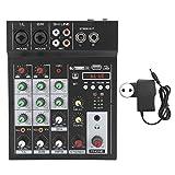 Mezclador de audio de 4 canales, Mezclador compacto Mezclador de audio digital BT MP3 Entrada USB + 48V Phantom Power, para grabación de música/DJ/Webcasting/Karaoke(Enchufe europeo)