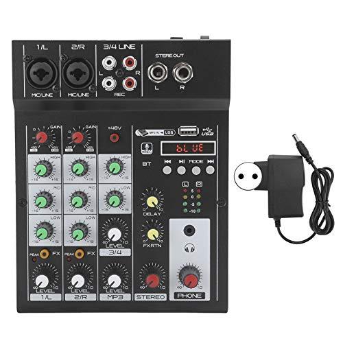 Mezclador de audio de 4 canales, Mezclador compacto Mezclador de audio digital BT MP3 Entrada USB + 48V...