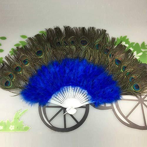 XINTIAN Abanicos de flores con plumas de pavo real para bailar, decoracin de estilo chino, elegante, para bodas, fiestas, flores, plegables, color azul