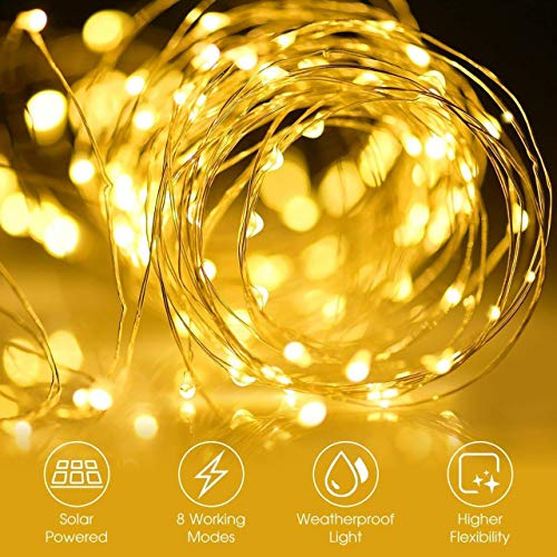 [2 Pack] Upoom Solar Fairy Lights, 200 LED Outdoor Solar String Lights Garden Copper Wire Decorative Lights 66Ft Waterproof Indoor Outdoor Lighting for Garden, Patio, Yard, Christmas