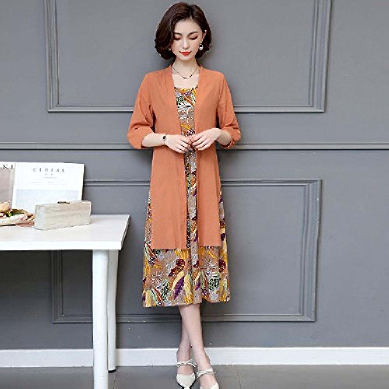 Kunzhang Dress Cotton Two Piece Dress Skirt Large SevenPoint Lantern Sleeve Dress Kumquat, 5Xl