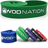 WOD Nation Pull Up Assistance Band - Best for Pullup Assist, Chin Ups, Resistance Bands Exercise, Stretch, Mobility Work & Serious Fitness - 41 inch Straps - Single Green Band