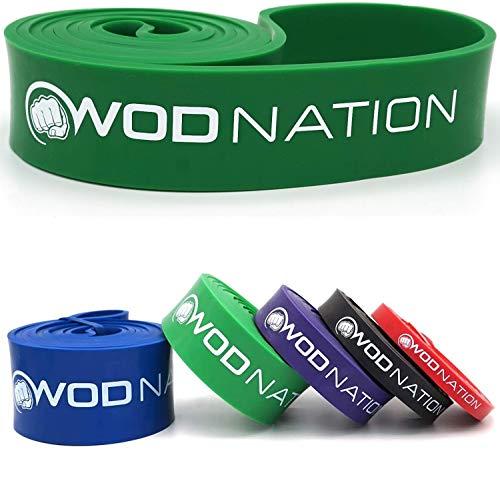WOD Nation Banda de asistencia para dominadas, ejercicios de resistencia, estiramientos, ejercicios de movilidad y fitness funcional + entrenamiento en vídeo   Tiras de 104 cm, SINGLE #4 Green - 50 to 125 Pounds