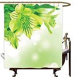 DOOPVM 3D Bedruckter Duschvorhang 180x180CM Frische Lilie-Blüten-Blüte mit abstrakten Blättern Bokeh-Hintergr&-Garten-Pflanze, lindgrüner apfelgrüner Duschvorhang
