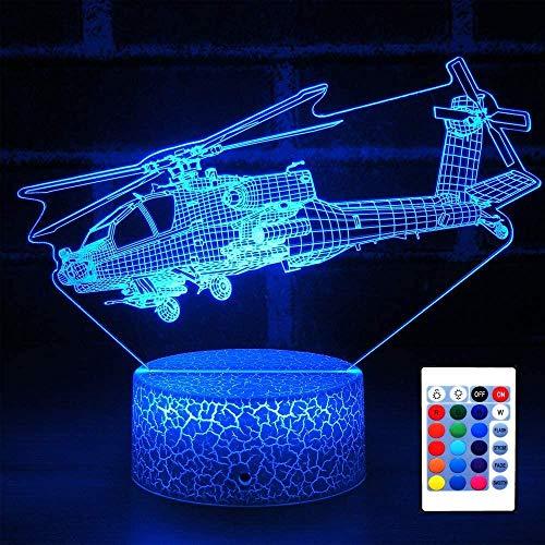 USB 3D LED Night LightHelicóptero 3D Lámpara de ilusión Led Luz de Noche 16 Cambio de Color Decoración Lámpara - Regalos para Niños y Anime Fans