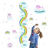 Medidor de altura PERSONALIZADO para pared   Vinilo decorativo habitación infantil (Unicornios XL)