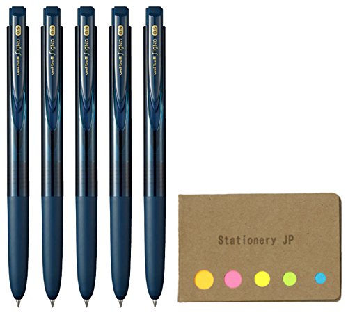 Uni-Ball Signo RT1 Retractable Gel Ink Pen, Extra Fine Point 0.5mm, Rubber Grip, Blue Black Ink, 5-Pack, Sticky Notes Value Set