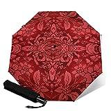 Paraguas plegable de viaje, diseño floral rojo de rubí victoriano Mojo automático TRIF-Old paraguas a prueba de viento para mujeres con protección UV Auto abierto y cierre
