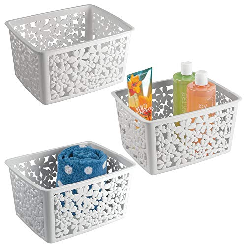 mDesign Plastic Bathroom Storage Basket Bin for Organizing Hand Soaps, Body Wash, Shampoos, Lotion, Conditioners, Hand Towels, Hair Accessories, Body Spray - Large, Floral Design, 3 Pack - Light Gray