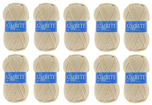 Lot 10 Pelotes de laine Azurite 100% Acrylique Tricot Crochet Tricoter - Marron - 3057