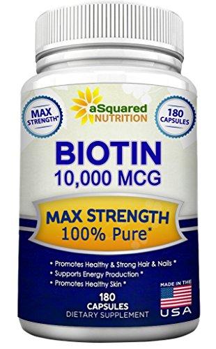 Biotin with 10,000 MCG - Max Strength Vitamin B Supplement for Men & Women, Vitamin B7 Biotin Pills to Improve Skin Health, Hair Growth, Thicker Nails & Energy, 180 Capsules 10000mcg Complex