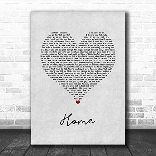 Edward Sharpe The Magnetic Zeros Home Grey Heart Song Lyric Print Wall Art Gifts for Lovers Poster [No Framed]