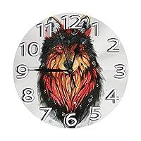オオカミ 置き時計 掛け時計 壁掛け時計 丸い時計 サイレント デジタル時計 おしゃれ 家の装飾