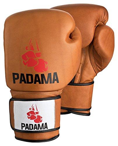 Padama Boxhandschuhe 12 oz Old School Retro für Boxsack, Leder Sandsackhandschuhe für Heavy Bag, Sparring, Fitnessboxen, Kampfsport für Männer inkl. Bandagen