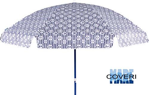 Enrico Coveri Ombrellone Mare Diversi Colori per Spiaggia con Diametro 180cm, Dotato di 8 Stecche E Realizzato in Acciaio e Oxford 80gr (Bianco)