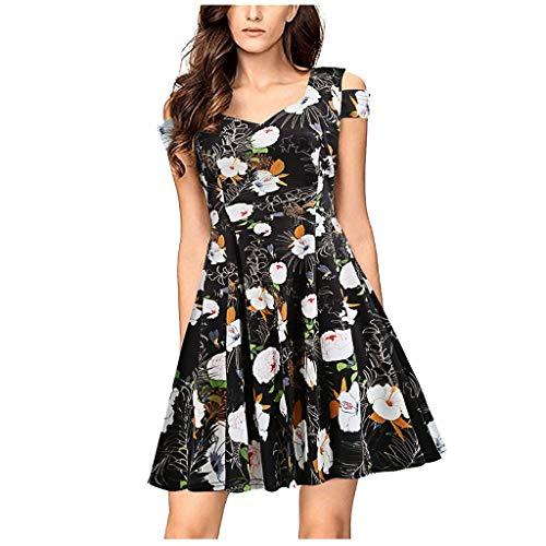 i-uend Damen Blumendruck Off-Schulter V-Ausschnitt Kurzarm Kleid mit hoher Taille für Party/Casual