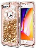 JAKPAK Case for iPhone 7 Plus Case iPhone 8 Plus Case iPhone 6 Plus Case for Girls Women Glitter Heavy Duty Protective Shell for iPhone 7 Plus iPhone 8 Plus iPhone 6 Plus iPhone 6S Plus Rose Gold