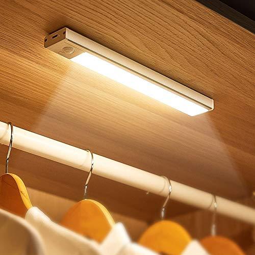 Luz Armario LED Sensor, iluminación de gabinete regulable táctil recargable por USB Type-C, luz LED con sensor para la cocina, la cama, batería 1100Amh, blanco cálido, 250mm