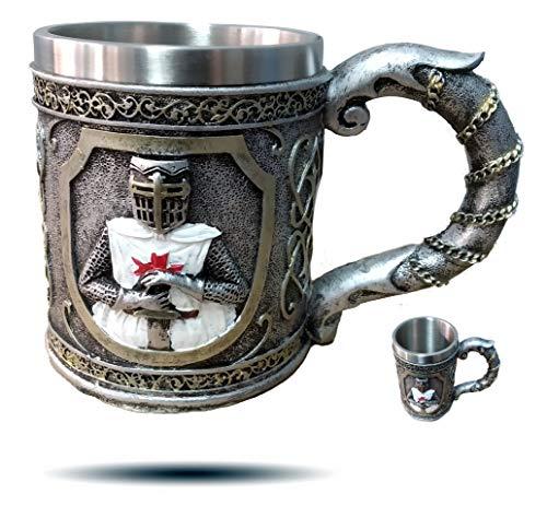 level25 - Jarra de Cerveza de Colección con Caballero Medieval en Relieve. Interior de Acero Inoxidable. Gran Capacidad